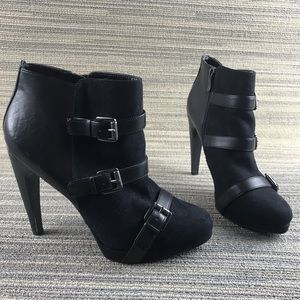 Sam & Libby Leather Suede Buckled Heeled Booties